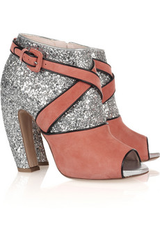 Miu Miu low ankle boots rose suede and glitter